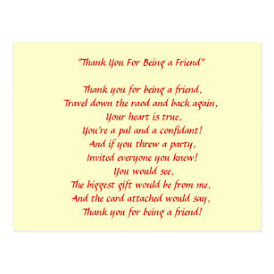 Thank You For Being A Friend Postcards Zazzle