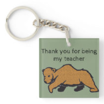 Thank You for Being My Teacher Artistic Brown Bear Keychain