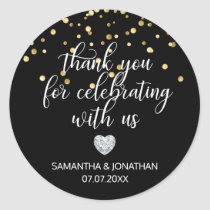 THANK YOU for Celebrating BLACK Gold Wedding Classic Round Sticker