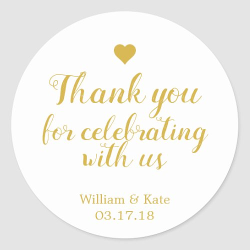 Thank You For Celebrating with Us Gold Classic Round Sticker