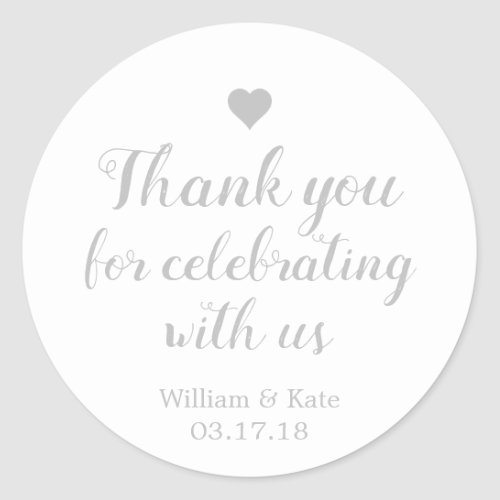 Thank You For Celebrating with Us Silver Classic Round Sticker