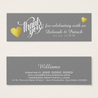 thank you for celebrating with us, wedding mini business card
