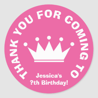 Thank you for coming Birthday party favor stickers