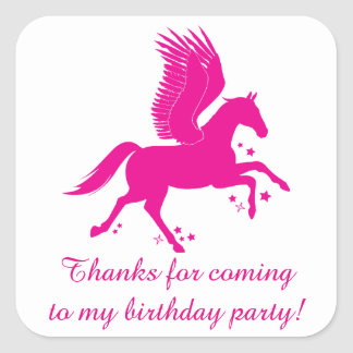 Thank You for Coming Birthday Party with Pegasus Square Sticker