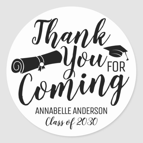 Thank You For Coming Black Graduation Party Favor Classic Round Sticker