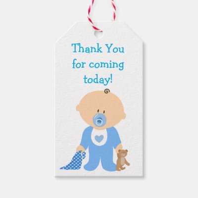 Thank You For Coming Blue Silhouette Baby Shower Gift Tags Zazzle Com