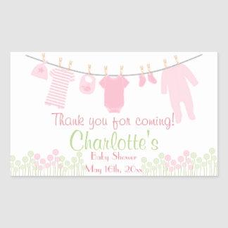 Thank You For Coming! Clothesline Baby Shower Rectangular Sticker