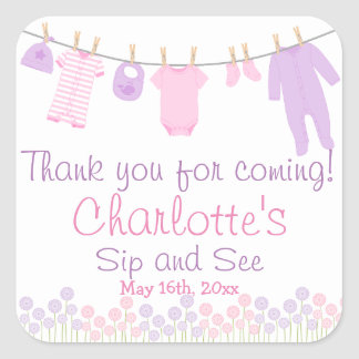 Thank You For Coming Little Clothes Sip and See Square Sticker