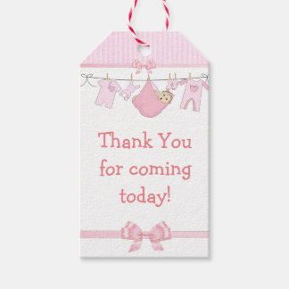 Thank You For Coming Pink Baby Shower Gift Tag