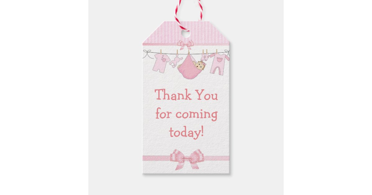 Thank You For Coming Pink Baby Shower Gift Tag Zazzle