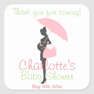 Thank You For Coming! Pink Silhouette Baby Shower Square Sticker