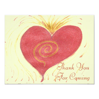 Thank You For Coming, Red Heart 4.25x5.5 Paper Invitation Card