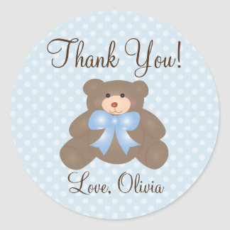 Thank You For Coming Teddy Bear Boy Baby Shower Classic Round Sticker