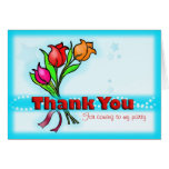 THANK YOU FOR COMING TO MY PARTY cartoon flowers Greeting Card