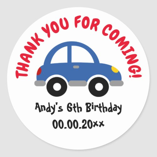 Thank you for coming toy car boys Birthday party Classic Round Sticker