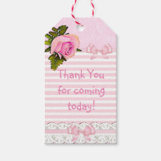 Thank you for Coming Vintage Rose  Baby Gift Tag