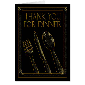 Thank You For Dinner Stylish Card Black And Gold
