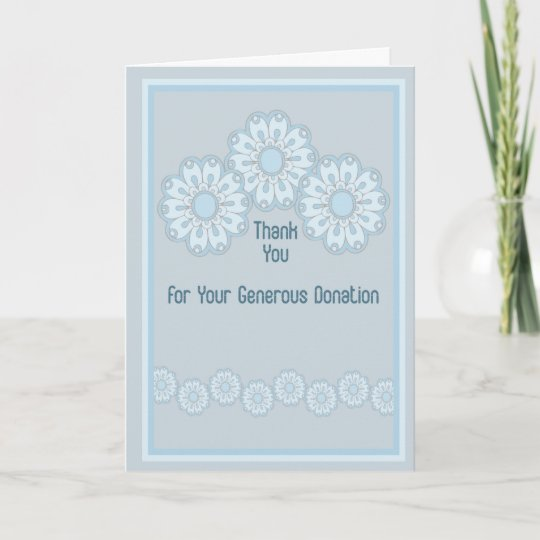 thank you for donation card blue flowers  zazzle