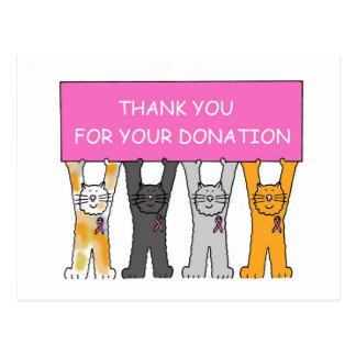 Thank you for donation pink ribbon cats. postcard