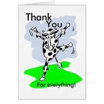 Thank you for everything! Dancing cow cartoon Card