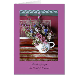 Thank You for Flowers, Vintage Flowers in Teapot Card
