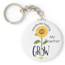 Thank you for helping us grow teacher sunflower keychain