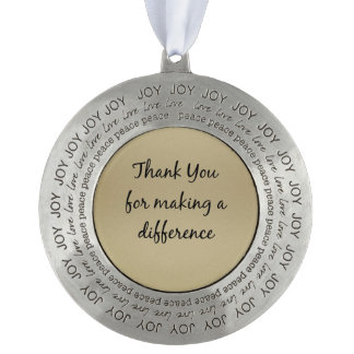 Thank you for Making a Difference Round Pewter Ornament