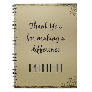 Thank you for Making a Difference Spiral Notebook