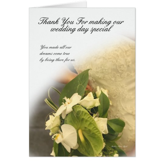 Thank you for making my wedding day special card