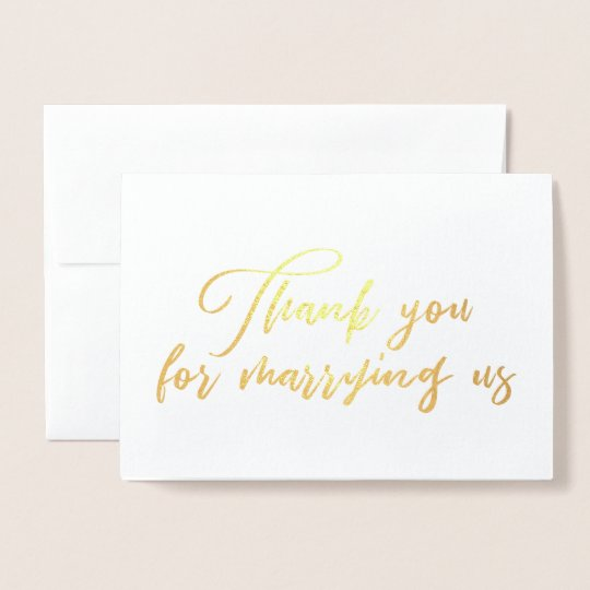 Thank You For Marrying Us Wedding Officiant Thank Foil Card