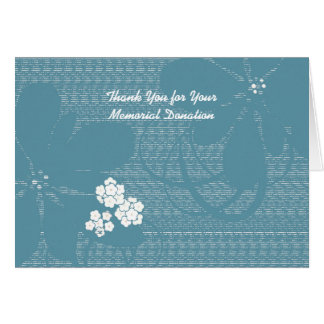 Thank You for Memorial Donation Pastel Blue Floral Card