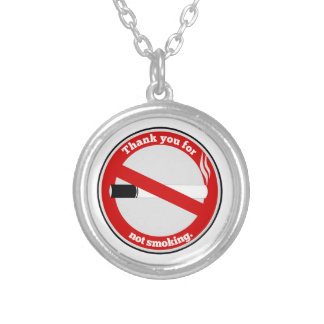 Thank you for not smoking round pendant necklace