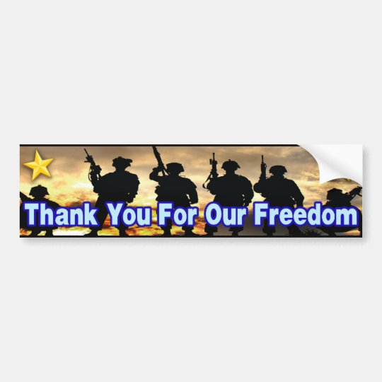 Thank You For Our Freedom Bumper Sticker