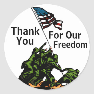 Thank You For Our Freedom! Classic Round Sticker