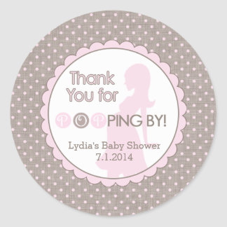 Thank You for Popping By! Pink and Brown Classic Round Sticker