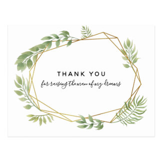 THANK YOU FOR RAISING THE MAN greenery leaf Postcard