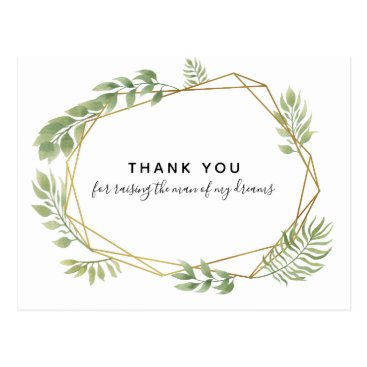 Lawyer Themed THANK YOU FOR RAISING THE MAN greenery leaf Postcard
