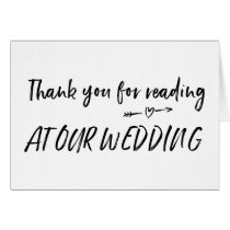 Thank You For Reading at Our Wedding Card