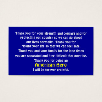 Thank You For Serving Our Country Business Card