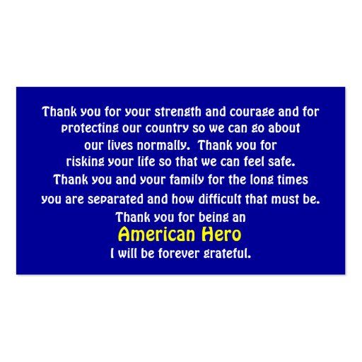 Thank You For Serving Our Country Double-Sided Standard Business Cards (Pack Of 100)