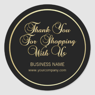 Thank You For Shopping With Us Business Gold Black Classic Round Sticker