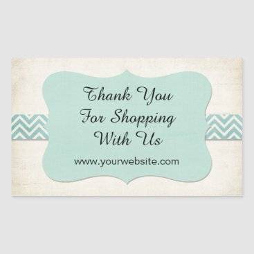 Professional Business 'Thank You for Shopping With Us' Mint Business Rectangular Sticker