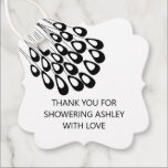 """Thank You for Showering With Love Bridal Shower Favor Tags<br><div class=""""desc"""">Modern. Minimal. This collection uses stylized peacock feathers to create an elegant look for your special day.</div>"""
