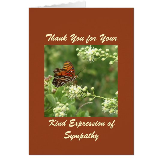 Thank You For Sympathy, Orange Butterfly Card