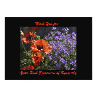 Thank You for Sympathy, Orange Flowers Poppies Card