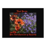 Thank You for Sympathy, Orange Flowers Poppies Custom Invitations