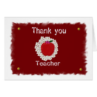 Thank you for teacher, apple greeting card