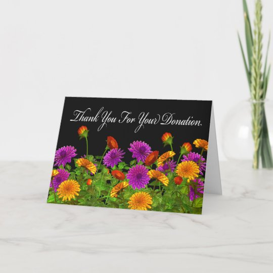 thank you for the donation greeting card  zazzle