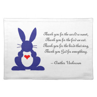Thank You For The Food We Eat - Child's Grace Cloth Placemat