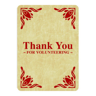 thank you for volunteering 5x7 paper invitation card